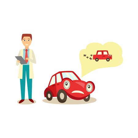 自動車サービスのスペシャリストに文句を言う車のキャラクター、排気から煙の医師、白い背景に隔離された漫画ベクトルイラスト。排気問題から