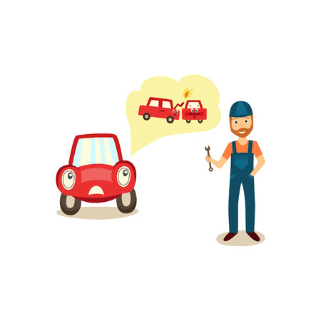 Car character complaining, telling to mechanic of collision, road accident, cartoon vector illustration isolated on white background. Car character telling doctor of collision with another vehicle Stock Illustratie