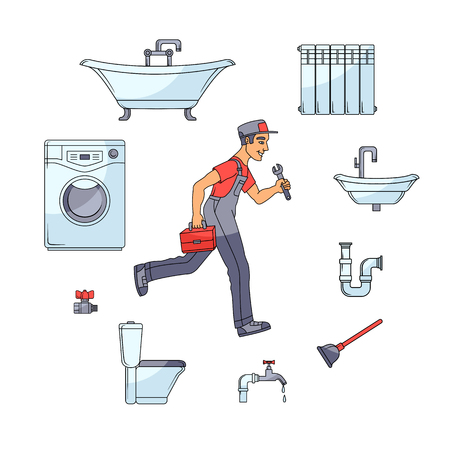 Plumbing banner, poster design with plumber hurrying to help in round frame of bathtub, toilet, sink, washer, faucet, radiator and pipe, cartoon vector illustration isolated on white background Ilustração