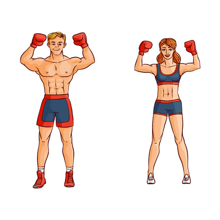 Vector cartoon muscular strong handsome boxer man, woman bare torso and chest standing with hands in red boxing gloves raised up smiling like winner set. Isolated illustration on a white background.