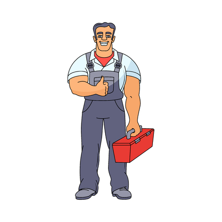 Full length, front view portrait of happy, smiling plumber in overalls holding a toolbox, showing thumb up, hand drawn cartoon vector illustration isolated on white background. Happy smiling plumber portrait