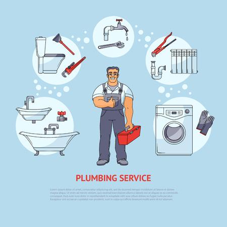 バナーを配管、ポスター、リーフレット デザインを示す白い背景で隔離のベクトル図漫画の鉛管工および種類のサービス、笑顔します。配管サービ