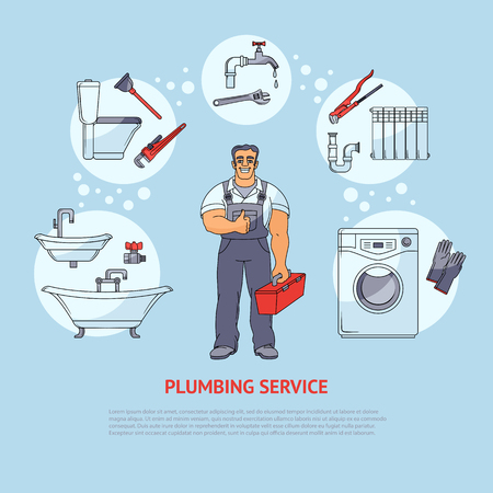 Plumbing banner, poster, leaflet design showing smiling plumber and types of services, cartoon vector illustration isolated on white background. Plumbing services infographics, banner, poster design Vettoriali