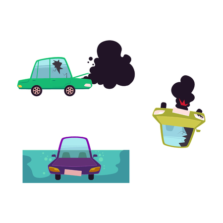 Flat cartoon broken car with cracked glass, open hood and black smoke coming from it, overturned vehicle, drowned auto set.