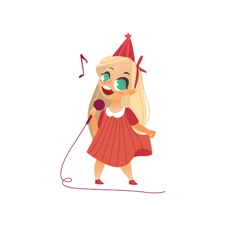Flat cartoon girl kid singing at microphone standing alone in pink dress party hat.