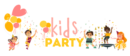 Flat kids at party set. Funny girls in hat whistling, dancing , running with balloon, boys jumping at trampoline, and dancing