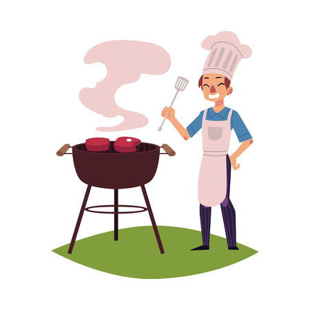 Homme heureux en toque et tablier, rôtir la viande sur le barbecue, tenant le tourneur, illustration de vecteur de dessin animé isolé sur fond blanc. Heureux jeune chef caucasien cuisson des steaks sur la grille du barbecue