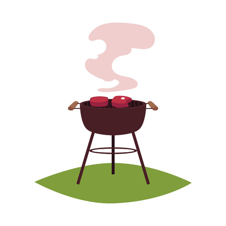Round BBQ, barbecue, charcoal grill with two meat steaks, cartoon vector illustration isolated on white background. Cartoon picture of two meat steaks frying on charcoal barbecue grill Ilustrace