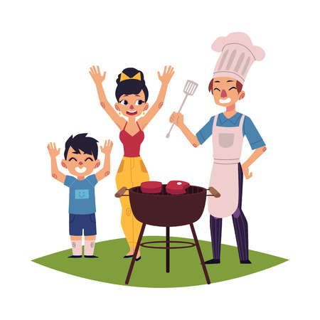 Family having BBQ, barbeque outdoors, man in chef hat and apron cooking, woman and kid saying hooray, cartoon vector illustration isolated on white background. Happy family having BBQ picnic Çizim