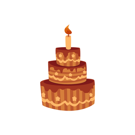 Tier birthday cake with chocolate icing and burning candle, cartoon vector illustration isolated on white background. Chocolate birthday cake with three tiers and one burning candle.