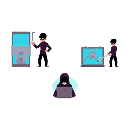 Vector flat cyber theft set. Man sitting in front of laptop, hacking security system, Bandit hacking smartphone, laptop protected by lock chain by bolt cutter, key. Isolated illustration.