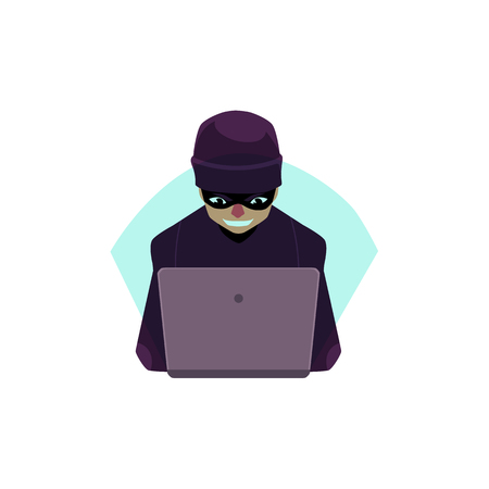 Vector flat cartoon unidentified bandit hacker in black pullover, hat and mask with laptop trying to hack private data, security system. Isolated illustration on a white background. Vectores