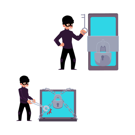 Vector flat cyber theft set. Man in mask sitting hacking smartphone protected by lock, holding key, hacker breaking chain protecting laptop by bolt cutter. Isolated illustration on a white background. Illustration