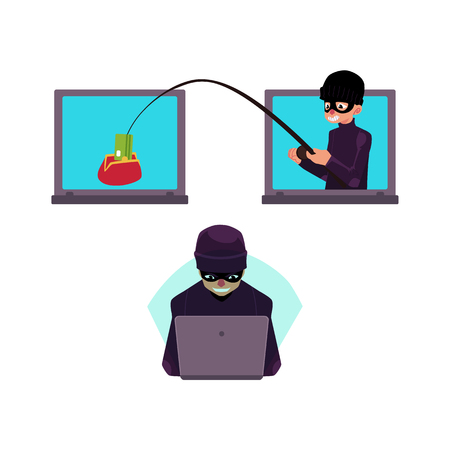 Vector flat cyber theft set. Hacker stealing dollar money banknote by fishing rod from red wallet, bandit in mask hacking private data, security system. Isolated illustration on white background.