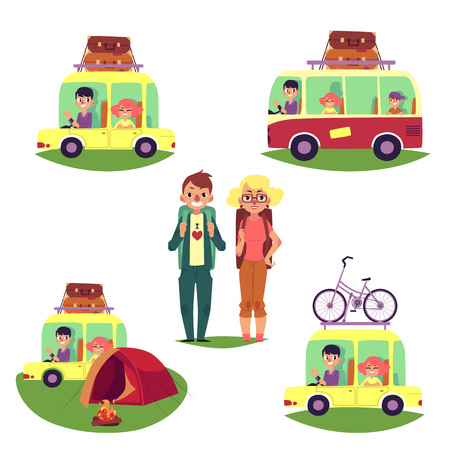 Road trip set, bus and cars with suitcase, baggage, bicycle on top, tent and backpackers, cartoon vector illustration isolated on white background. Road trip, camping, people travelling by car, bus
