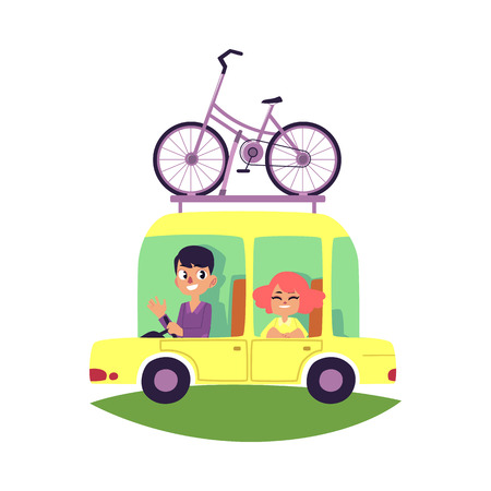 Couple, family travelling by car with bicycle fastened on top, cartoon vector illustration isolated on white background. Happy smiling couple, family on a car trip with bicycle mounted on top, roof