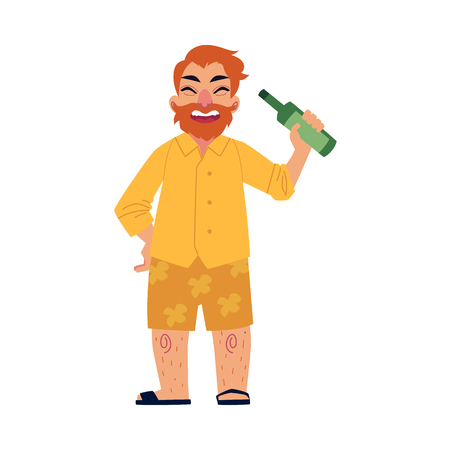 Funny bearded man in shorts and flip-flops drinking bear in his yard, cartoon vector illustration isolated on white background. Full length portrait on happy man with beer bottle having fun at picnic.