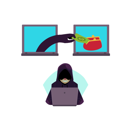 Vector flat cyber theft set. Hacker hand stealing dollar money banknote from red wallet in laptop, bandit in mask hacking private data, security system. Isolated illustration on white background.