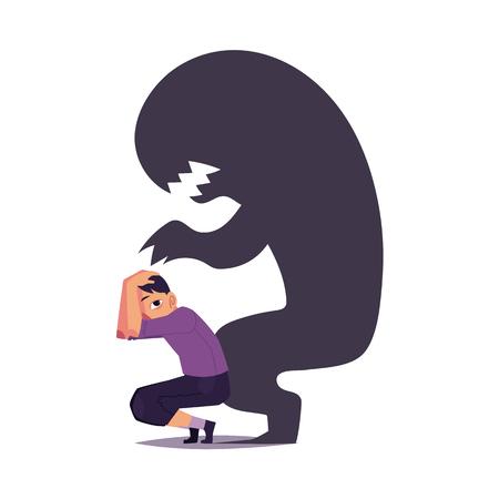 Medo, fobia, mostrada como assustador monstro preto sombra pendurado sobre homem assustado, ilustração vetorial dos desenhos animados, isolada no fundo branco. Conceito de transtorno mental, fobia, medo como sombra de monstro preto.