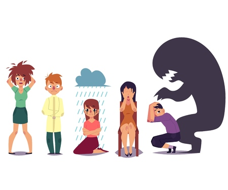 Set of people suffering from mental disorder, illness, grief, nervous breakdown, flat cartoon vector illustration isolated on white background. Mental illness concept, people in despair, stress, grief. Vettoriali