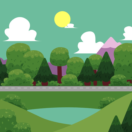 Vector flat illustration of nature landscape. Summer picture with white clouds, trees, mountains, lake and road. Peaceful, beautiful wallpaper, background for your design.