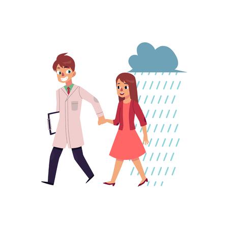Mannelijke arts, psychiater die een vrouw helpen om depressie het hoofd te bieden, beeldverhaal vectordieillustratie op witte achtergrond wordt geïsoleerd. Arts die een vrouw helpt om van droefheid, het concept van de psychiaterzorg te herstellen.