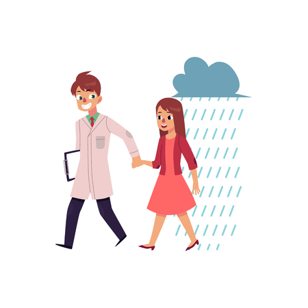 Male doctor, psychiatrist helping a woman to cope with depression, cartoon vector illustration isolated on white background. Doctor helping a woman to recover from sadness, psychiatrist care concept.