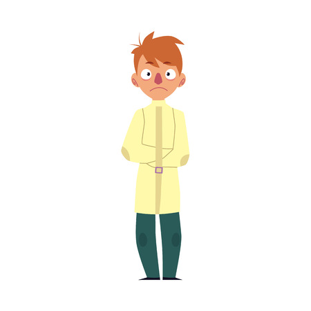 Man having mental disorder, standing in strait jacket, psychiatric patient, cartoon vector illustration isolated on white background. Young man with mental disease standing in straitjacket. Illustration