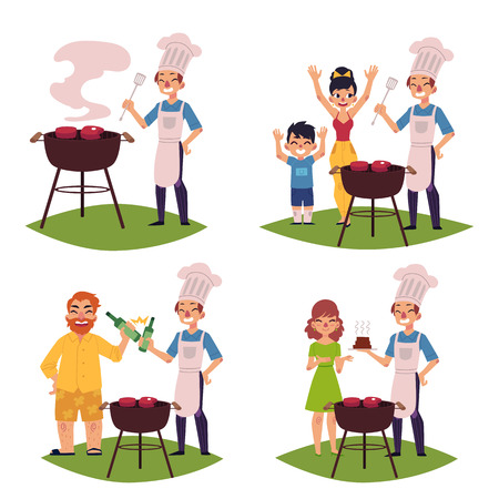 People make BBQ, barbeque outdoors, cook meat on grill, drink beer, cartoon vector illustration isolated on white background. Set of people - chef, woman, man, kid - making BBQ, cooking steaks