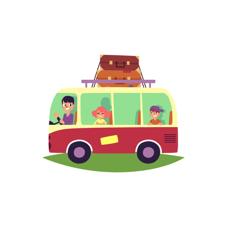 Family travelling by bus, minibus, van with baggage, luggage rack on top, cartoon vector illustration isolated on white background. Happy family, father and kids, on a road trip travelling by bus