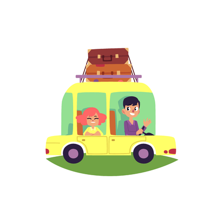 Couple, family travelling by car with suitcases, baggage fastened on top, cartoon vector illustration isolated on white background. Happy smiling couple, family on car trip with luggage on top