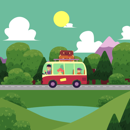 vector flat cartoon camping scene, travelling road trip. funny hippie minivan car with big bags fixed at its roof within trees, mountains. Isolated illustration on a white background. Illustration