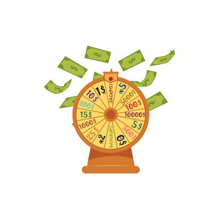 お金、ドル紙幣が飛んで、落ちる、カジノのシンボル、白い背景に隔離されたフラットベクトルイラストと幸運のホイール。幸運のホイール、カジ