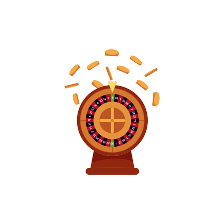 カジノルーレットテーブルゲームと金色のコインが落ちる、白い背景に隔離されたフラットベクトルイラスト。ルーレットテーブルゲーム、カジノ