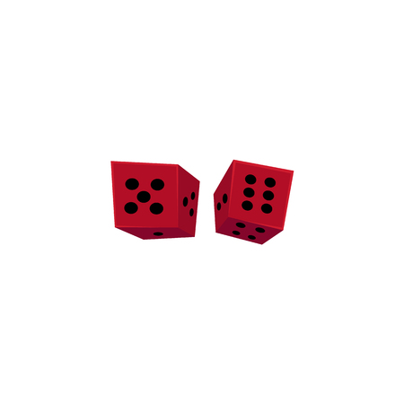 Two falling red casino dices, gambling devices, flat style vector illustration isolated on white background. Two dices, casino, gambling devices for throwing random numbers.