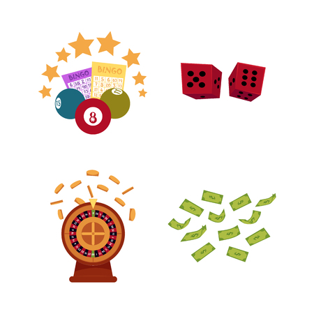 Vector flat casino symbols icon set. Gambling roulette wheel with gold coin , bingo lottery tickets, balls, flying dollar money rain, dice cubes. Isolated illustration on white background.