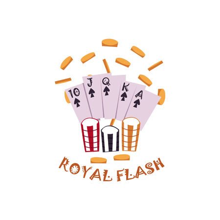 Vector flat royal flush in spades poker cards, rain of golden coins around, casino chips. Isolated illustration on a white background. Sign of profit, easy money. Jackpot, bingo casino design poster.