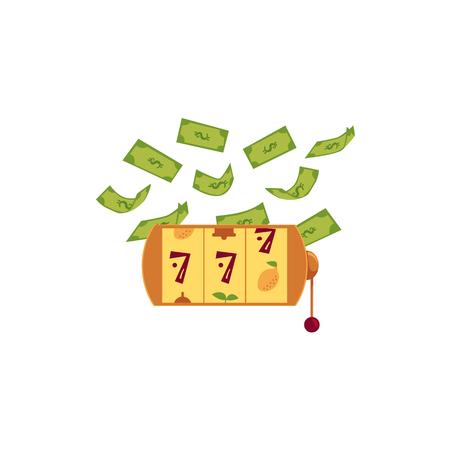 Vector vlakke gokkende gelukkige drievoudige Jackpot zeven, gouden gokautomaat met rond dollarregen. Geïsoleerde illustratie op een witte achtergrond. Teken van winst gemakkelijk geld. bingo casino ontwerp poster.