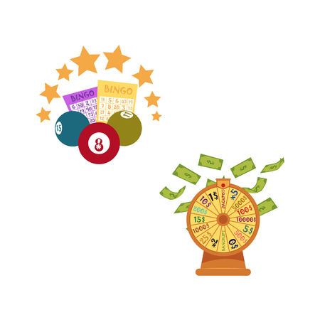 vector flat bingo cartoon lottery tickets, lotto keno jackpot number balls and golden stars, casino wheel of fortune with dollar money rain. Illustration isolated on white background.