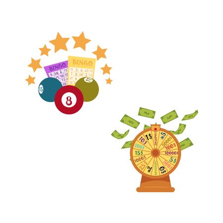 vector flat bingo cartoon lottery tickets, lotto keno jackpot number balls and golden stars, casino wheel of fortune with dollar money rain. Illustration isolated on white background.