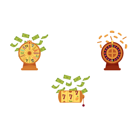 vector flat casino symbols icon set. gambling lucky wheel of fortune, casino roulette wheel with gold coin, triple seven jackpot, slot machine with dollar rain.