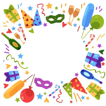 Wektor płaski szczęśliwy urodziny szablon karty z zestaw ikon symboli uroczystości. Tort urodzinowy ze świeczką, balonami, pudełkiem na prezent w jasnym opakowaniu, kapeluszem, szampanem, maską, dmuchawką. Ilustracja na białym tle.