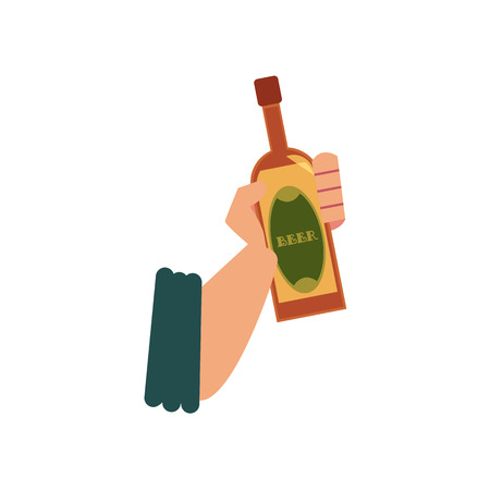 Male hand holding closed beer bottle, flat cartoon vector illustration isolated on white background. Stylized flat style icon with male hand holding beer bottle.