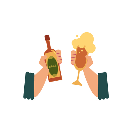 Male hands holding beer, ale, cider in bottle and glass, drinking, toasting, celebrating, flat cartoon vector illustration isolated on white background. Two male hands with beer bottle and cider glass. Ilustração