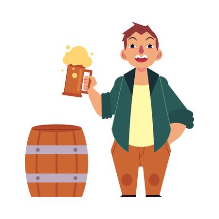 ベクトル漫画のビール愛好家 - 厚い泡、木製のビール樽と金色のラガークールなビールのマグカップを保持する大きなビール腹を持つ大人の男。孤