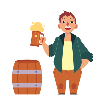 Vector cartoon beer lover - adult man with big beer belly holding mug of golden lager cool beer with thick foam, wooden beer keg, barrel. Isolated illustration, white background