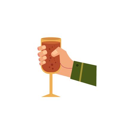 Vector la mano dell'uomo del fumetto che tiene il vetro del primo piano scintillante del modello delle bevande e delle gocce di acqua dell'alcool. Pronto per il tuo disegno isolato illustrazione su uno sfondo bianco. Archivio Fotografico - 93742183