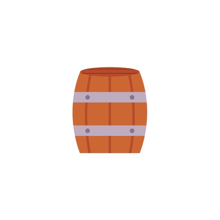 Stylized flat style icon of wooden beer, rum, wine barrel, vector illustration isolated on white background. Flat icon with wooden, oak barrel for wine, rum, beer or gunpowder Illustration