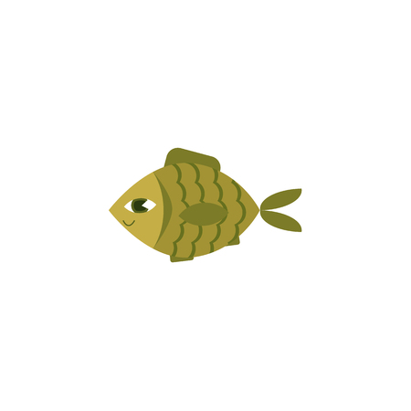 Vector flat green fish icon illustration Çizim
