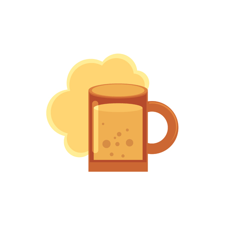 Stylized flat style icon of beer mug with foam and bubbles vector illustration